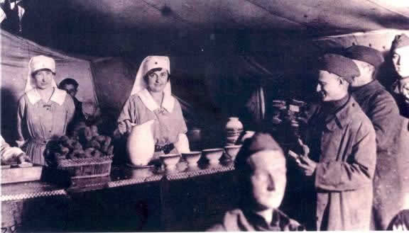 In June 1917 America and France gave the American Red Cross the role of providing funds and supplies for civilian relief. Four thousand six hundred ten American women served as war relief workers for the Red Cross. Pictured is Miss Mary Vail Andress at Toul, France. She was awarded the Distinguished Service Medal. Over 10,000 Red Cross nurses served independently of military bases overseas.The Red Cross Nursing Service recruited and trained the bulk of Army and Navy Nurses during World War I.