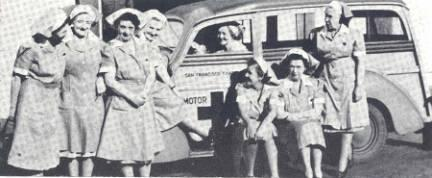 Nurses with Red Cross car